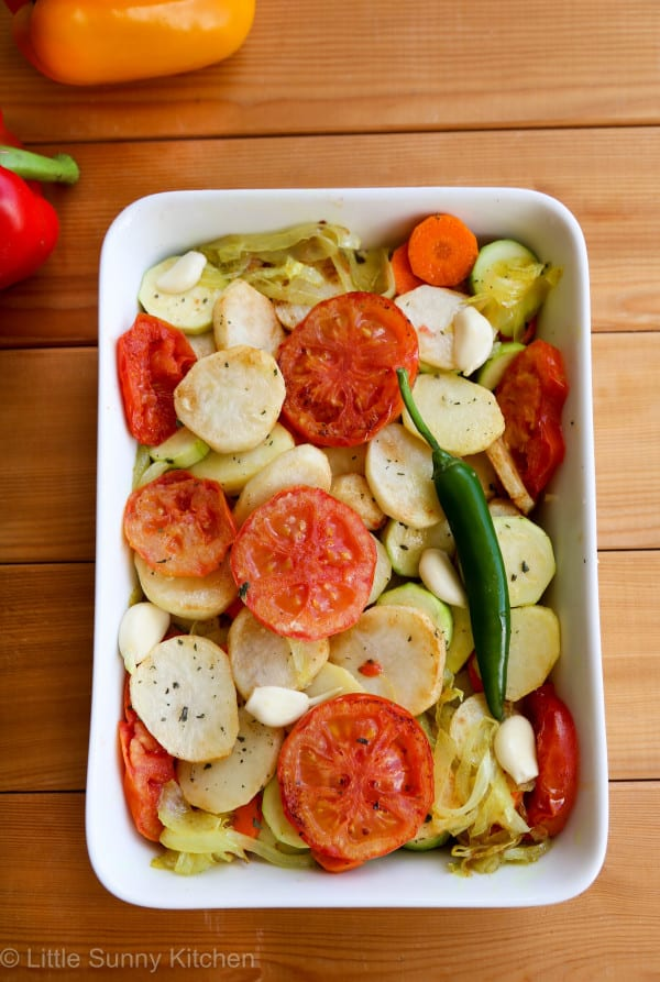 Healthy vegetable potato bake with cheese