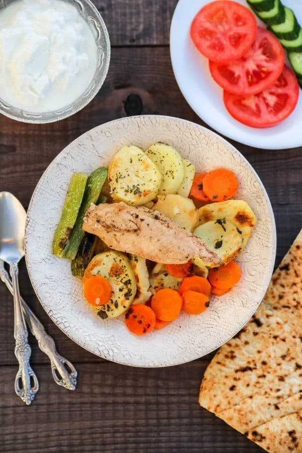 Seneyet Jaj (Chicken potato bake) a middle eastern dish made with chicken and vegetables. Very easy and delicious!