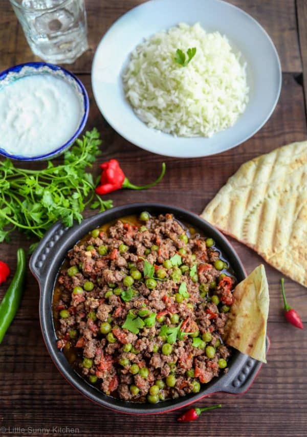 Indian lamb keema served with rice