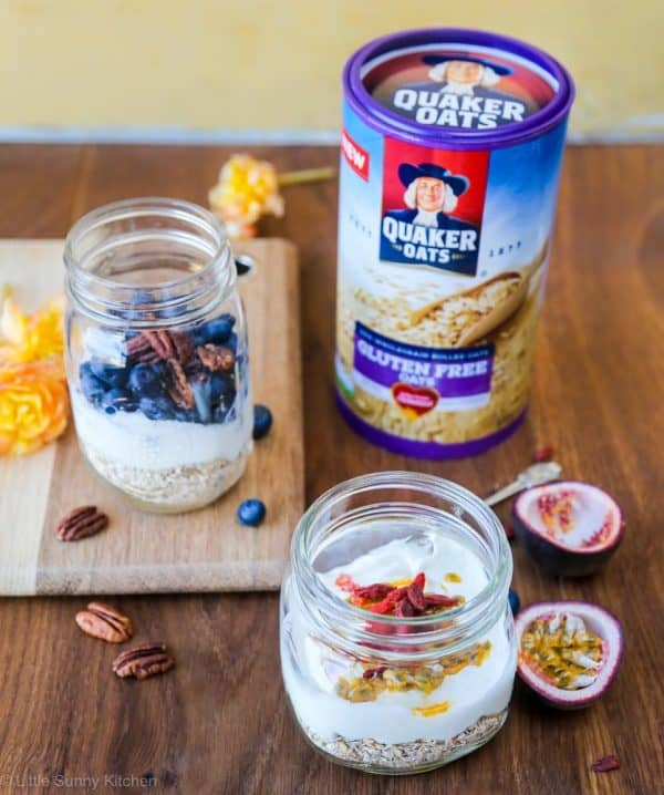 Overnight oats in mason jars! A healthy and filling breakfast that can be on the table whenever you're ready in the morning!